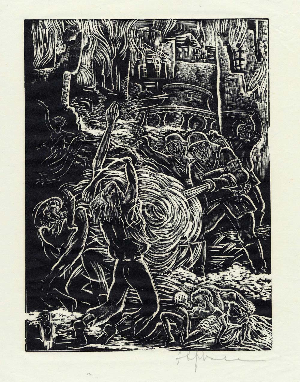 ''Desperation and Death'', woodcut print by Stefan Mrozewski