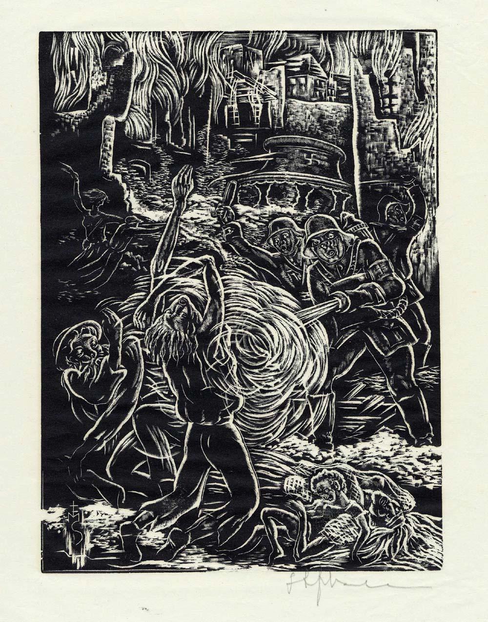 ''Le désespoir et la mort'', estampe réalisée par Stefan Mrozewski