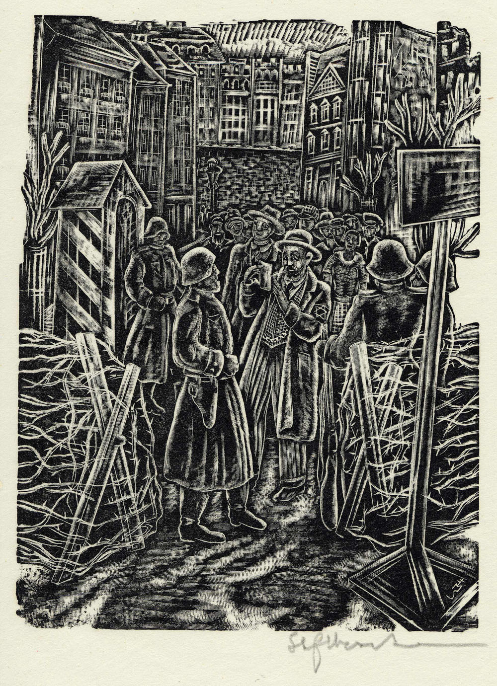 ''Entrance to the Ghetto'', woodcut print by Stefan Mrozewski