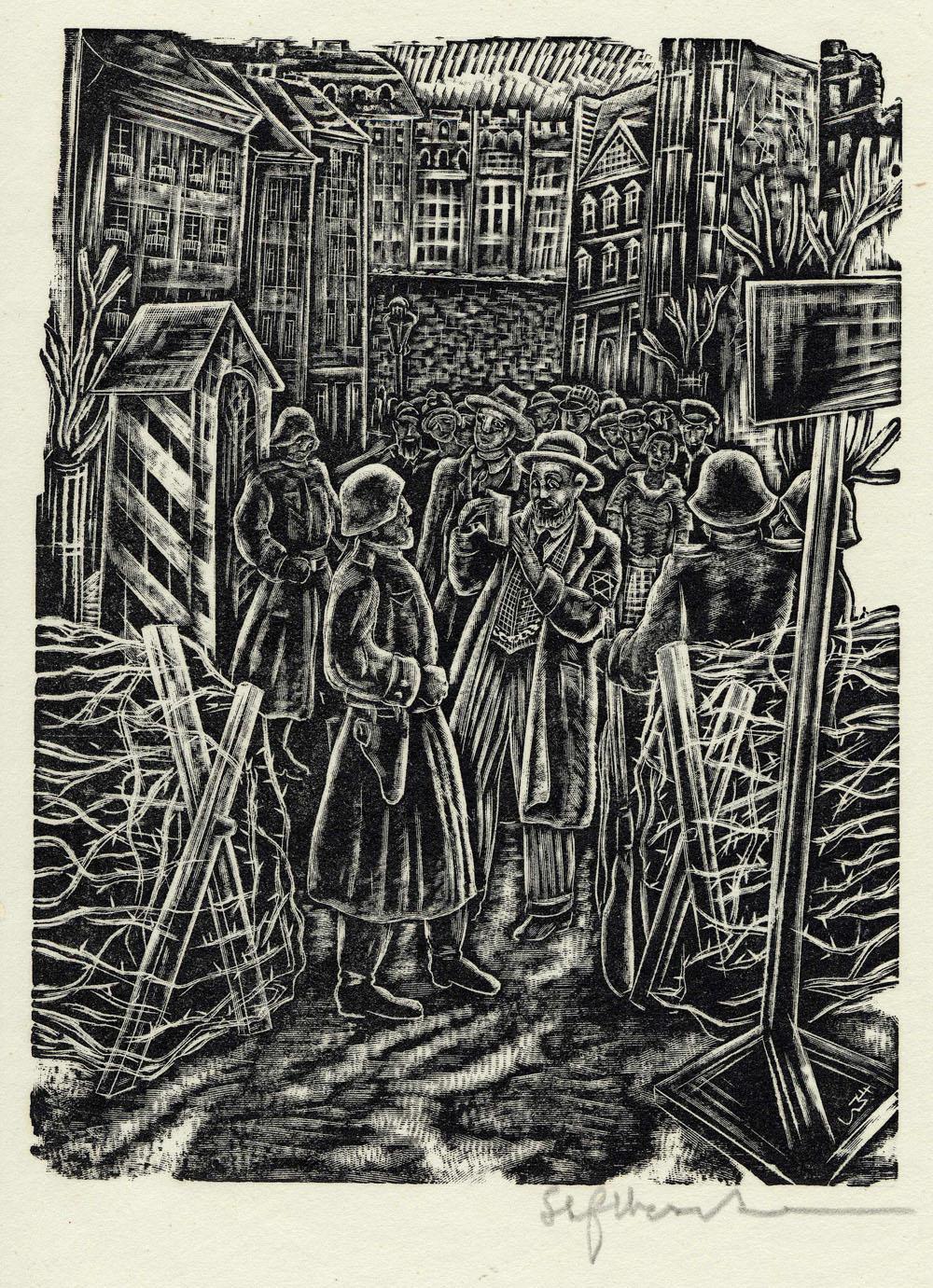 ''L'entrée du ghetto'', estampe réalisée par Stefan Mrozewski