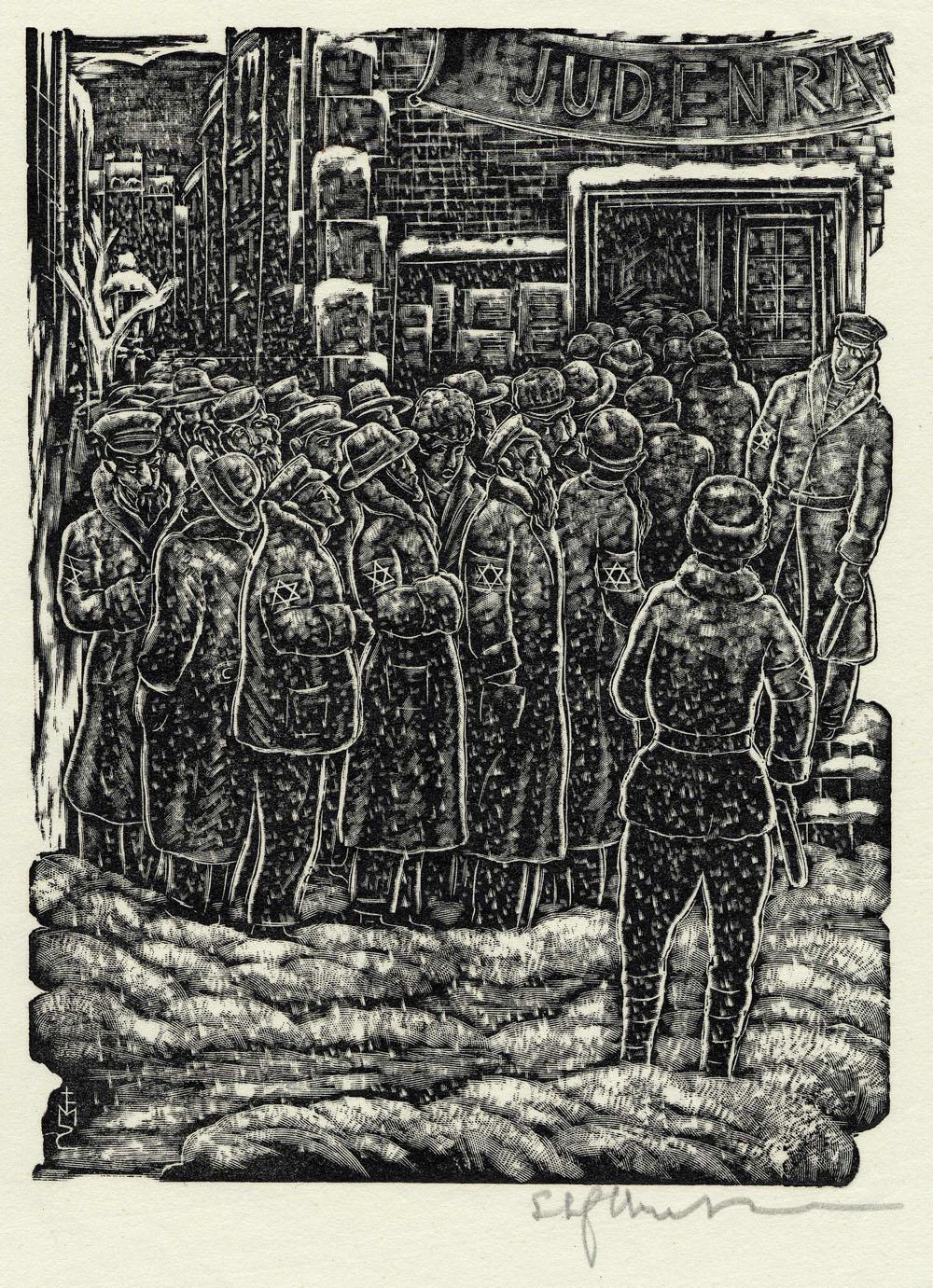 ''Forced Labor'' woodcut print by Stefan Mrozewski