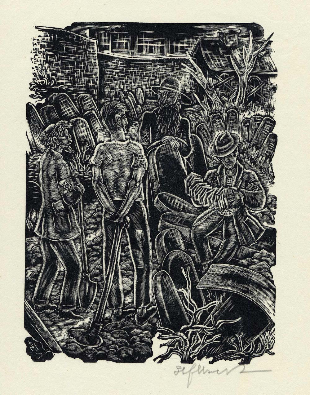 ''Growing Vegetables in the Cemetery'', woodcut print by Stefan Mrozewski