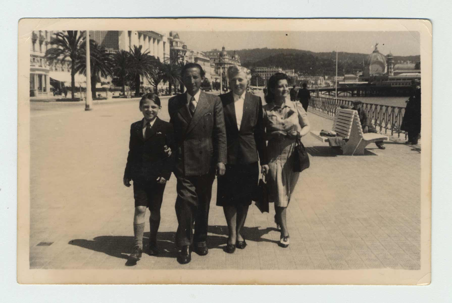 The Shenkier family on the Promenade des Anglais in Nice, circa 1942.
