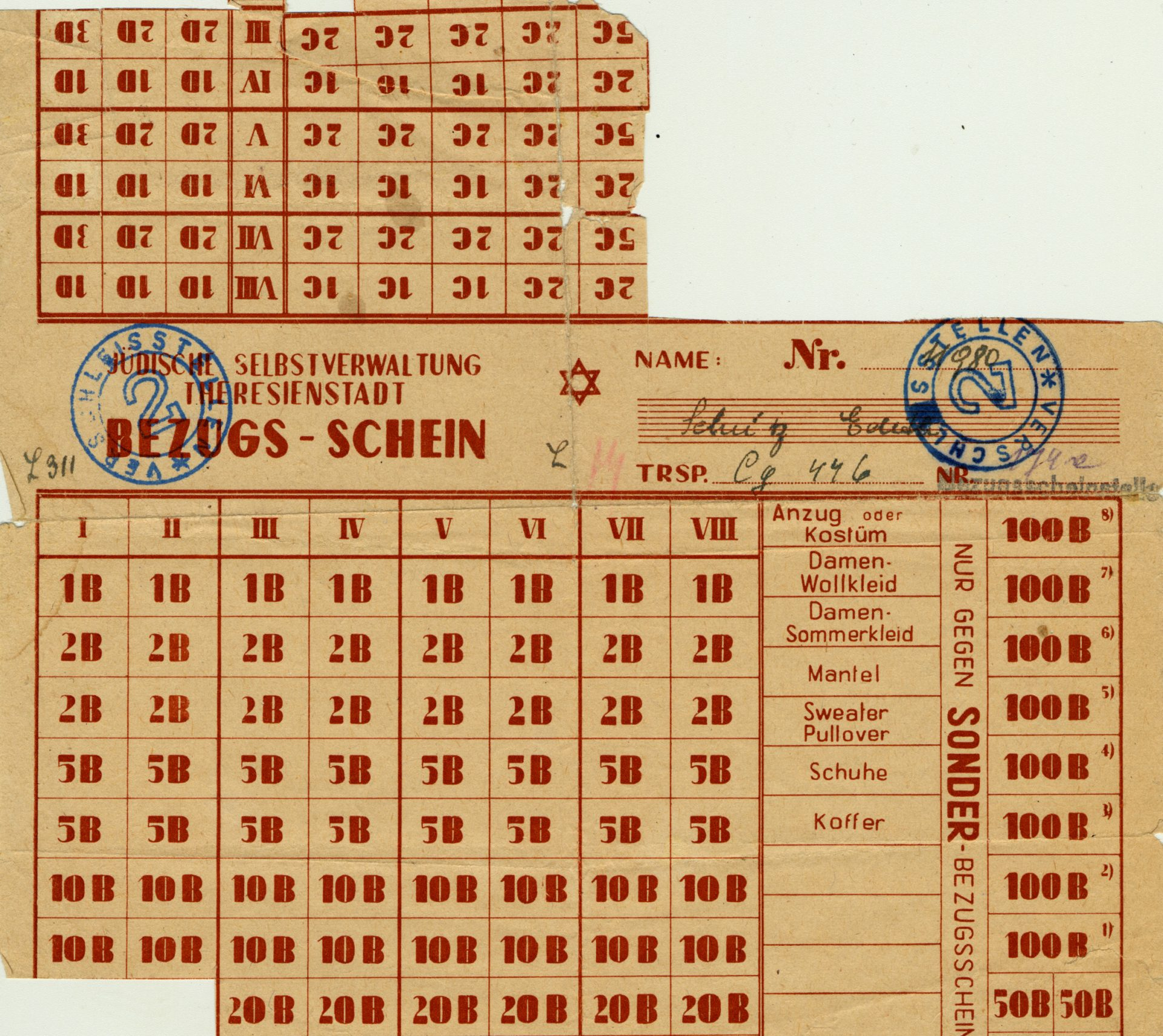 This ration tokens sheet belonged to Emilie Schulzova and was used in the Theresienstadt ghetto. The tokens allowed inhabitants to buy products that were available in limited quantities.
