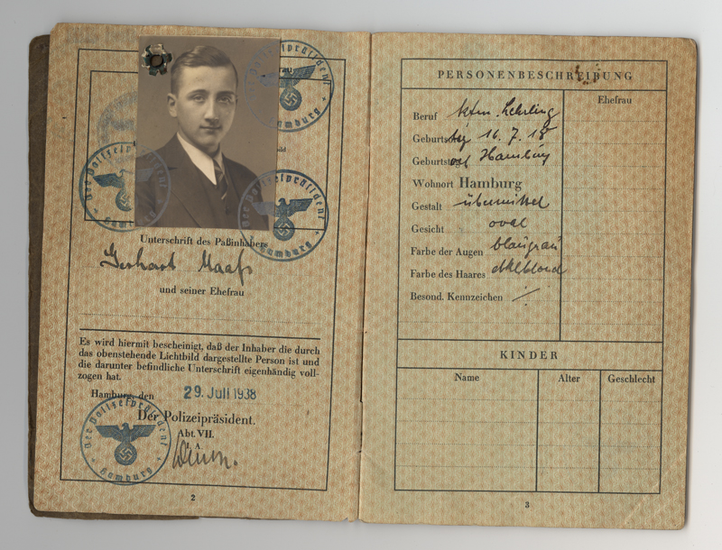 This passport belonged to Gerhart Maass, a German Jew born in 1918.