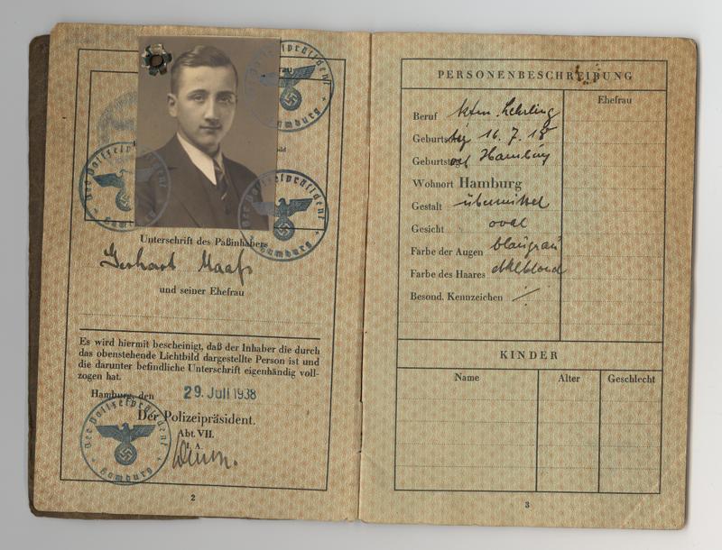Ce passeport a appartenu à Gerhart Maass, un Juif allemand né en 1918.