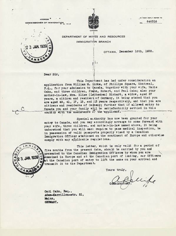 The letter allowing the Cahn family to immigrate to Canada.