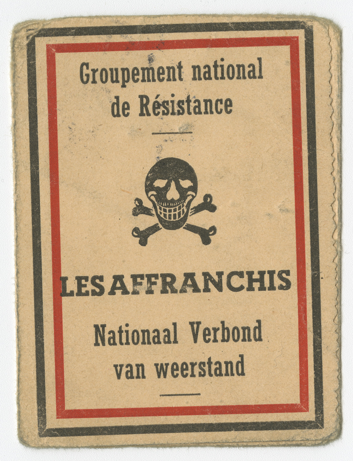 "This membership card for ""Les Affranchis"" resistance group belonged to Léopold Heinz Rübler. The group logo, a skull with a mocking smile, is printed on the booklet's cover."