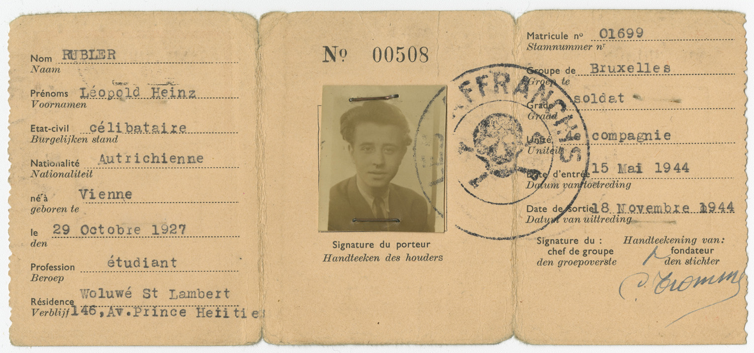 "Léopold was part of the 4th company of the Brussels division of the ""Les Affranchis"" group. He joined the group on May 15, 1944, and participated in resistance activities until November 18 of the same year."