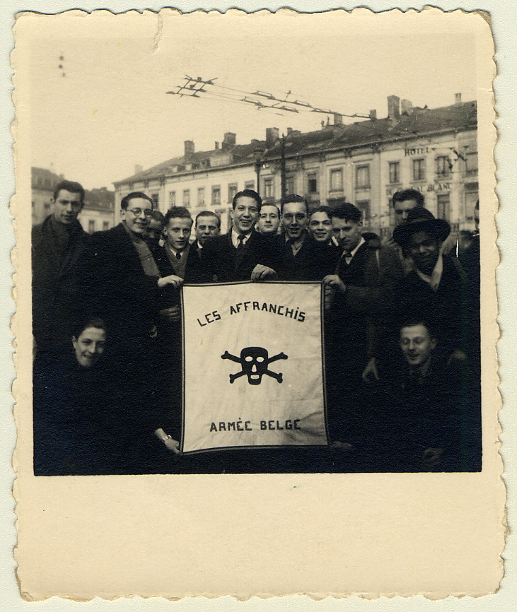 "Léopold Heinz Rübler with members of ""Les Affranchis"" in Brussels in 1944."
