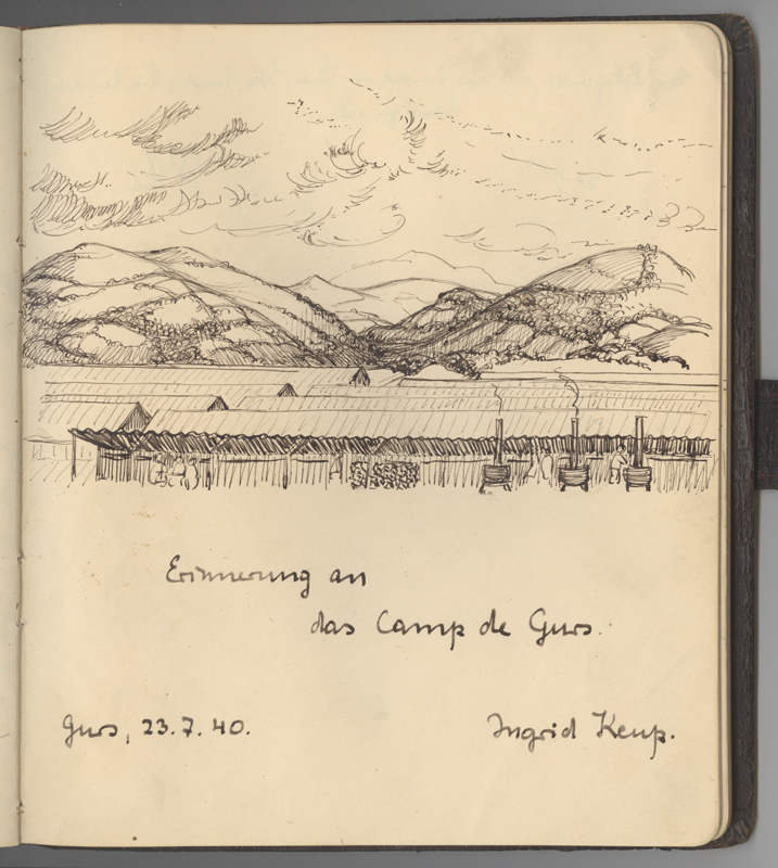 A drawing made in Hanna Landé's autograph book representing Gurs camp. It is dated July 23, 1940.