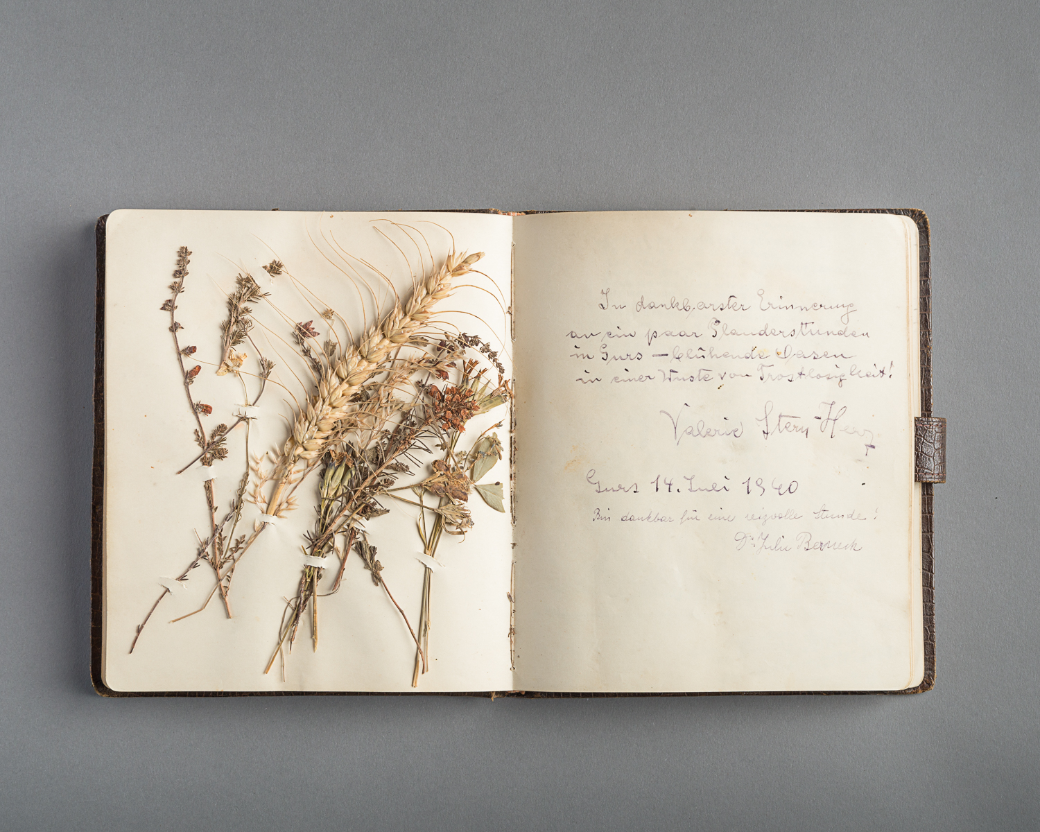 One of its pages is decoreated with dry flowers. (Photo: Peter Berra)