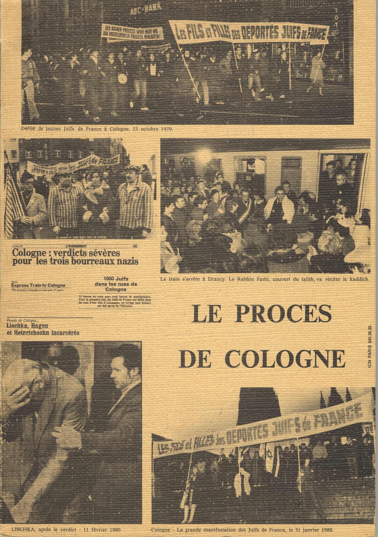 La couverture du livre ''Le procès de Cologne'' avec des photographies de manifestations du regroupement ''Les Fils et Filles des Déportés Juifs de France''.
