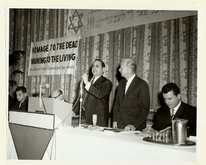 Lou Zablow speaks at a ceremony to award a plaque to authors of Anti-Hate Bill, Montreal, 1967.