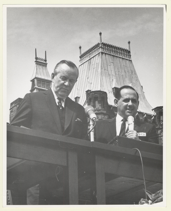 Lou Zablow Canadian Prime Minister Lester B. Pearson in Ottawa during a Holocaust rally on May 7, 1965.