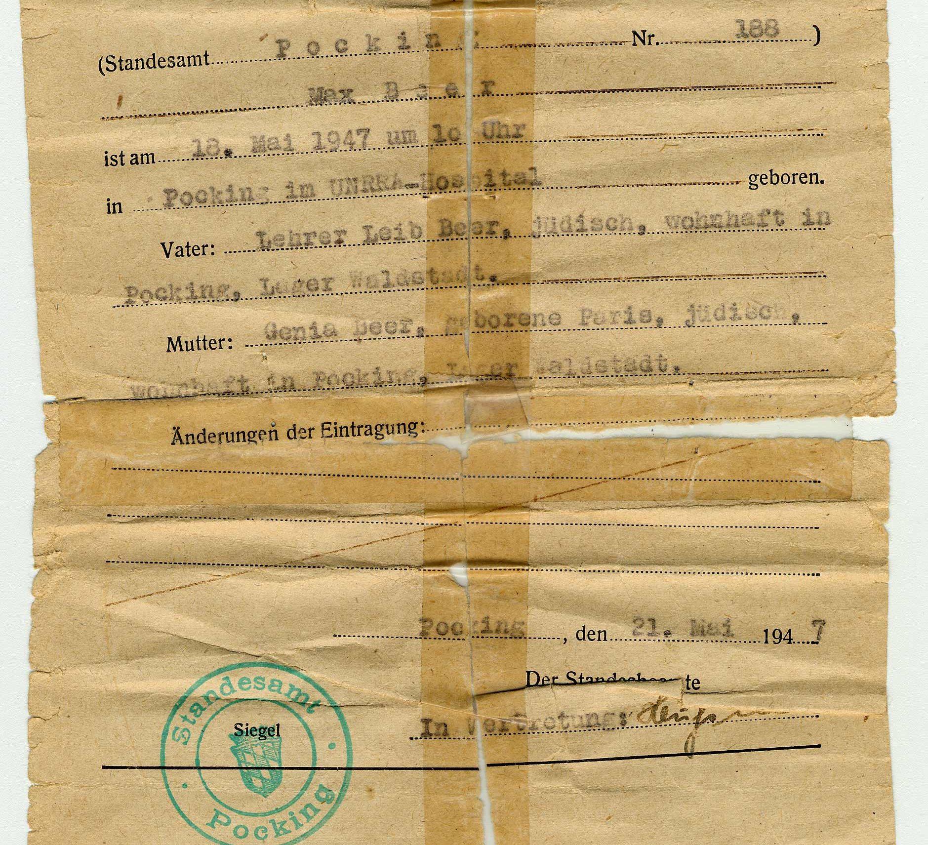 Le certificat de naissance de Max Beer. Il est né le 18 mai 1947 dans un camp de personnes déplacées géré par l'UNRRA (l'Administration des Nations Unies pour les secours et la reconstruction).