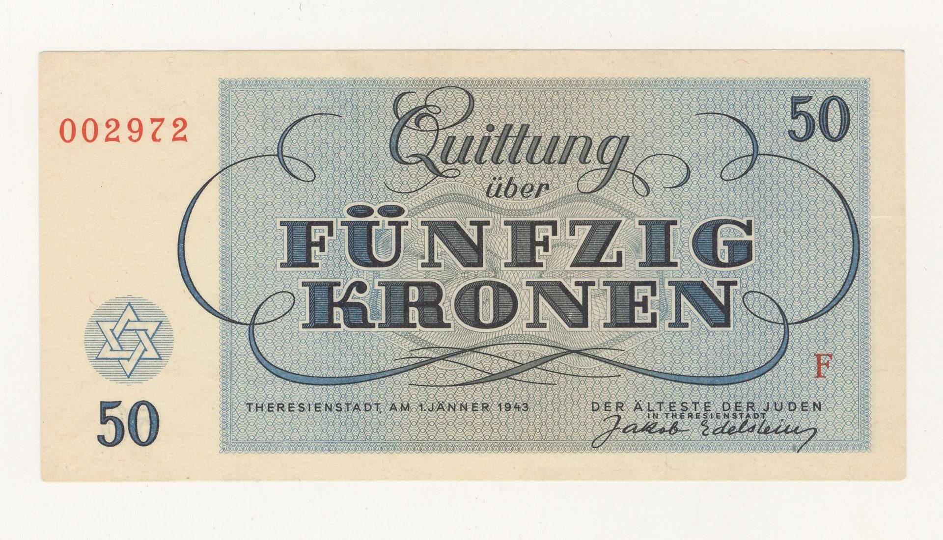 Papier monnaie du ghetto de Theresienstadt, utilisé pour montrer à la Croix rouge les bonnes conditions de vies dans le ghetto.