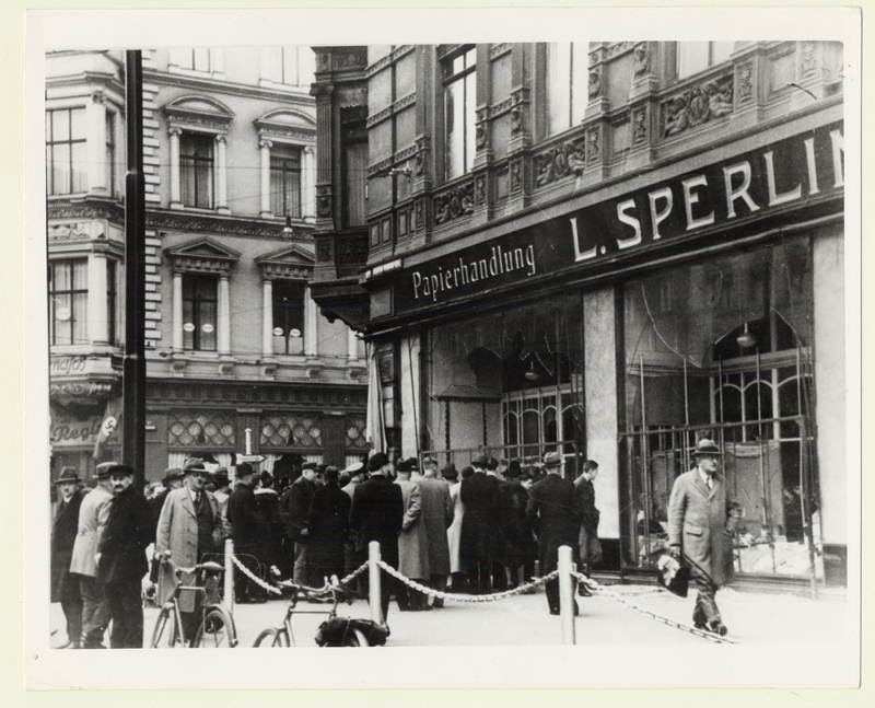 "Kristallnacht or the ""Night of broken glass"" is the violent antisemitic pogrom of November 9-10, 1938. The name refers to the broken glass of Jewish stores and synagogues vandalised and burned during that night."