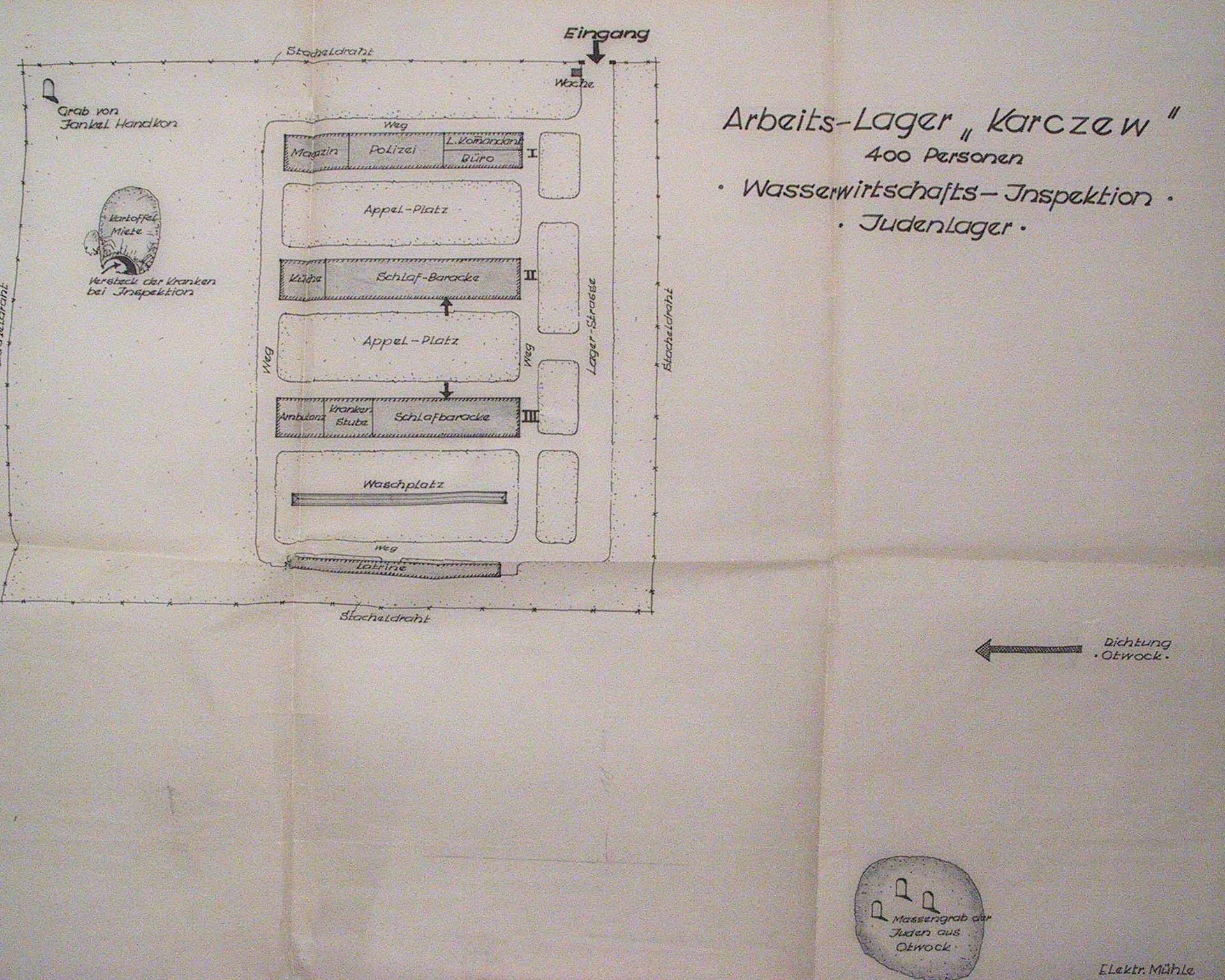 A map of the nearby Karczew forced labour camp is also attached to the document.