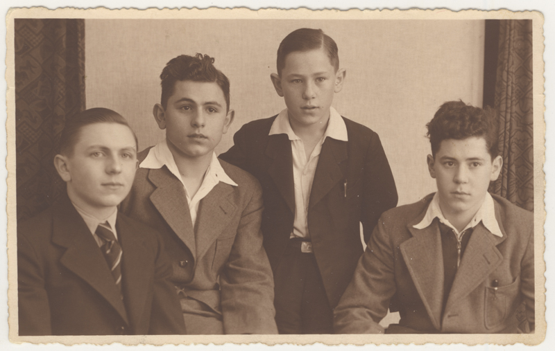 Simon Markel (pictured on the right) with his three brothers, Richard, Willy and David. This photograph was taken on April 18, 1938, about a year before Simon left with the Kindertransport. His three brothers were killed during the Holocaust.