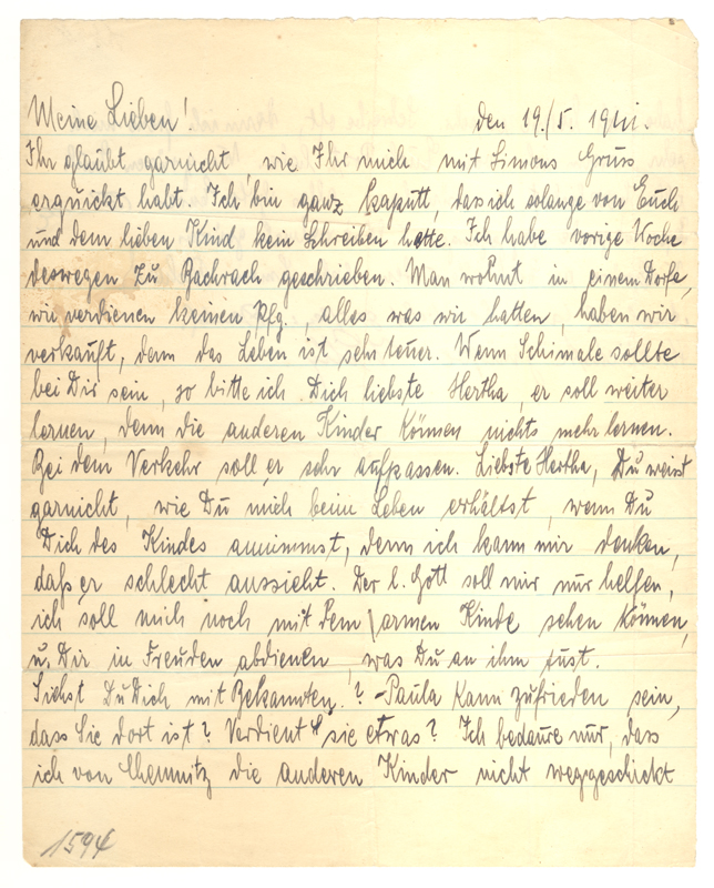 Anna wrote this letter for her son, Simon, after he had left with the Kindertransport.