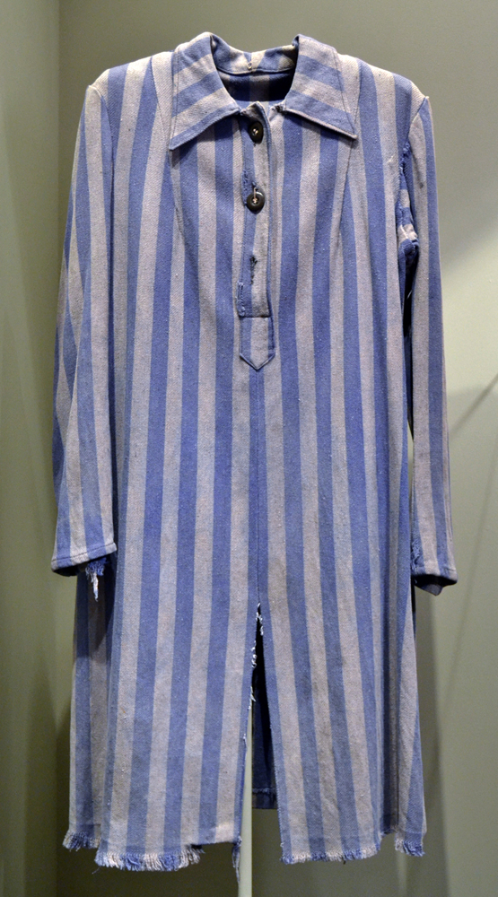 Sonia's prisoner uniform, displayed in the permanent exhibit of the Montreal Holocaust Museum.