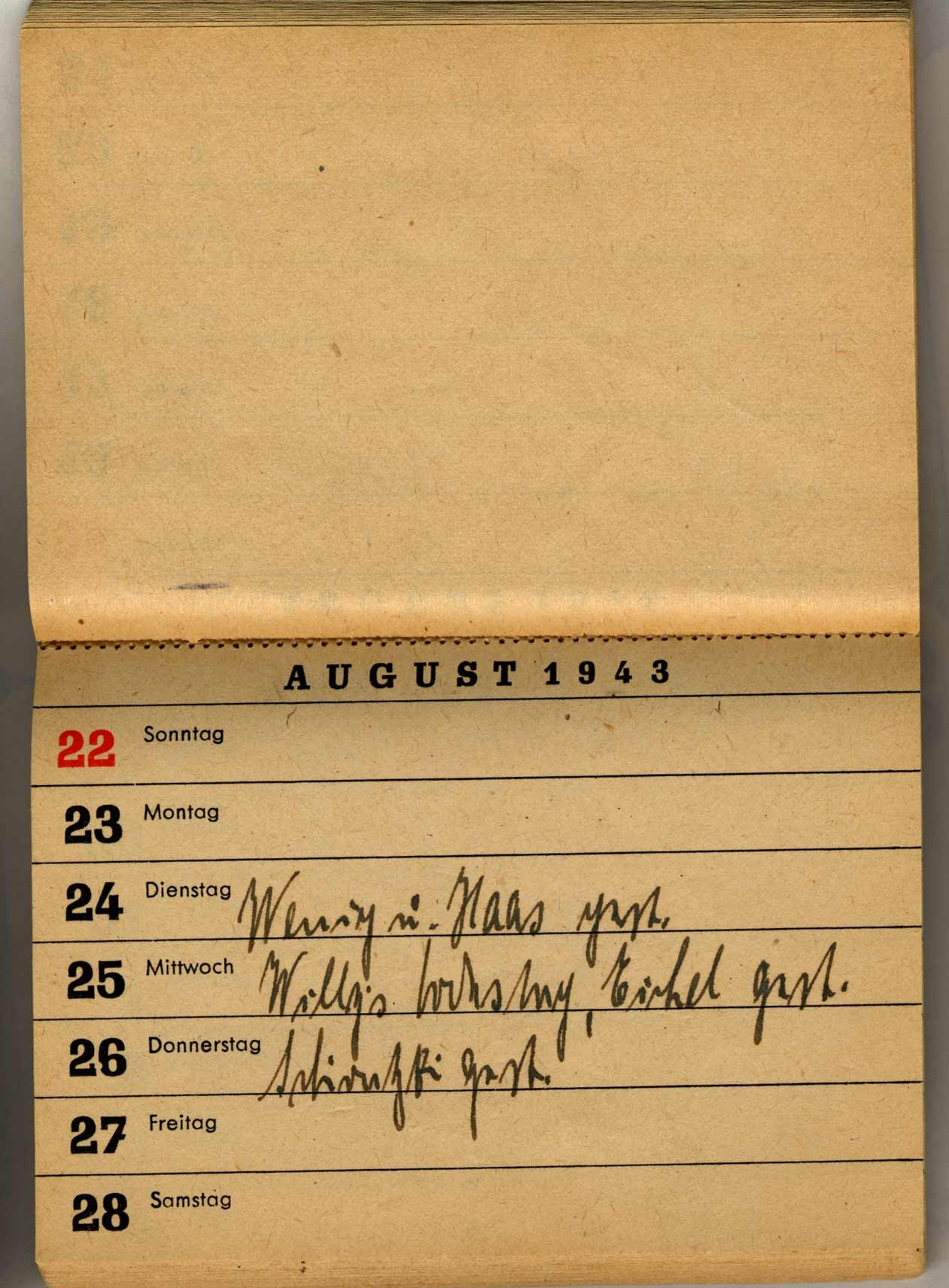 Calendar of the year 1943 in which Paula noted each day she received news from Willy.