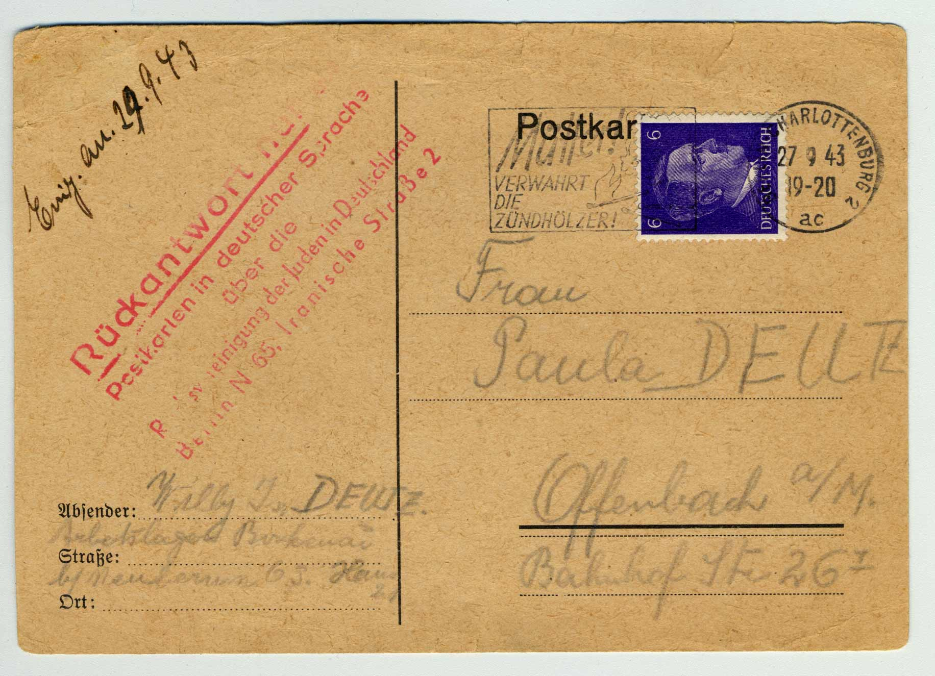 Postcard written by Willy from Auschwitz-Birkenau. Paula received it on September 24, 1943, one month after her husband's death.
