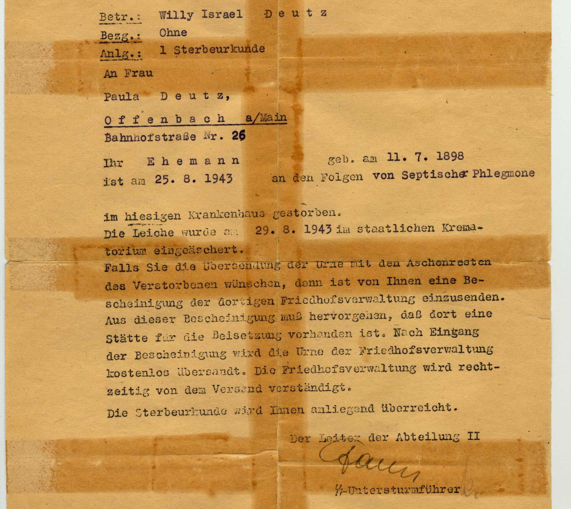 Death certificate of Willy Deutz killed in Auschwitz on August 25, 1943.