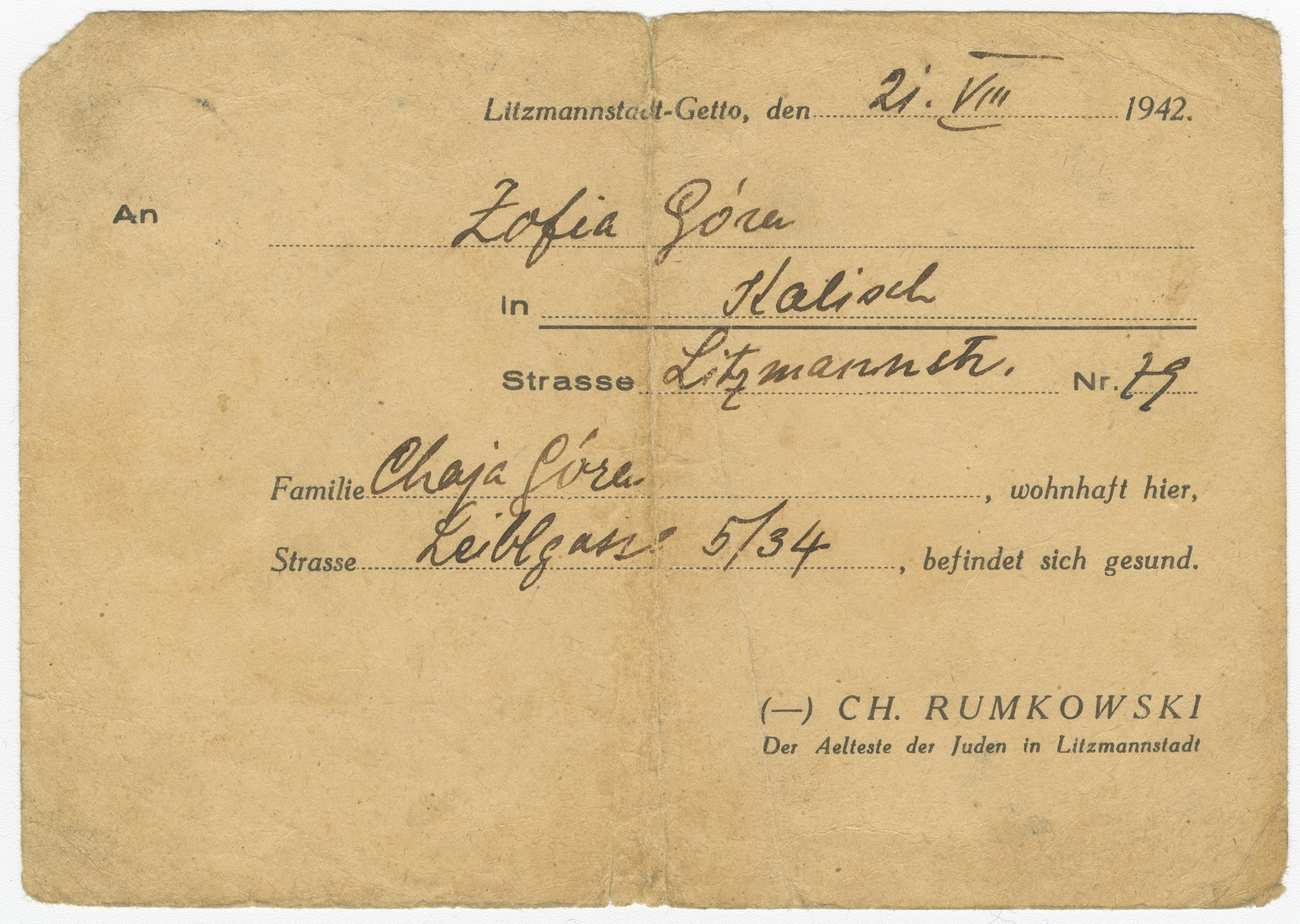 Pre-written postcard was sent from the Lodz ghetto, in Poland. Dated August 21, 1942, it was sent to Zofia Gora from her relative, Chaja Gora.