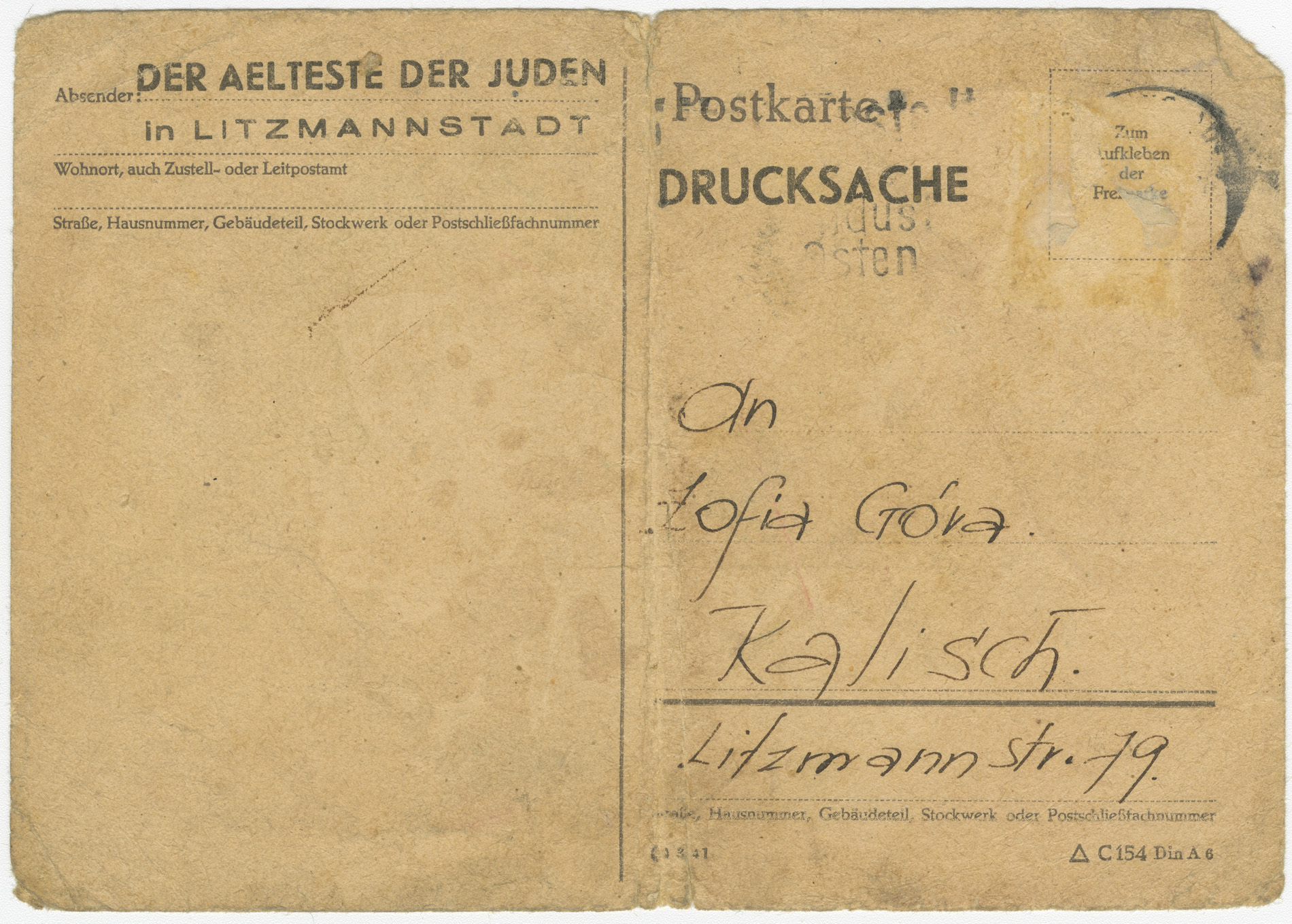 To reassure the relatives of ghetto inhabitants, the Ältestenrat sent these cards to inform them that their family members were well.