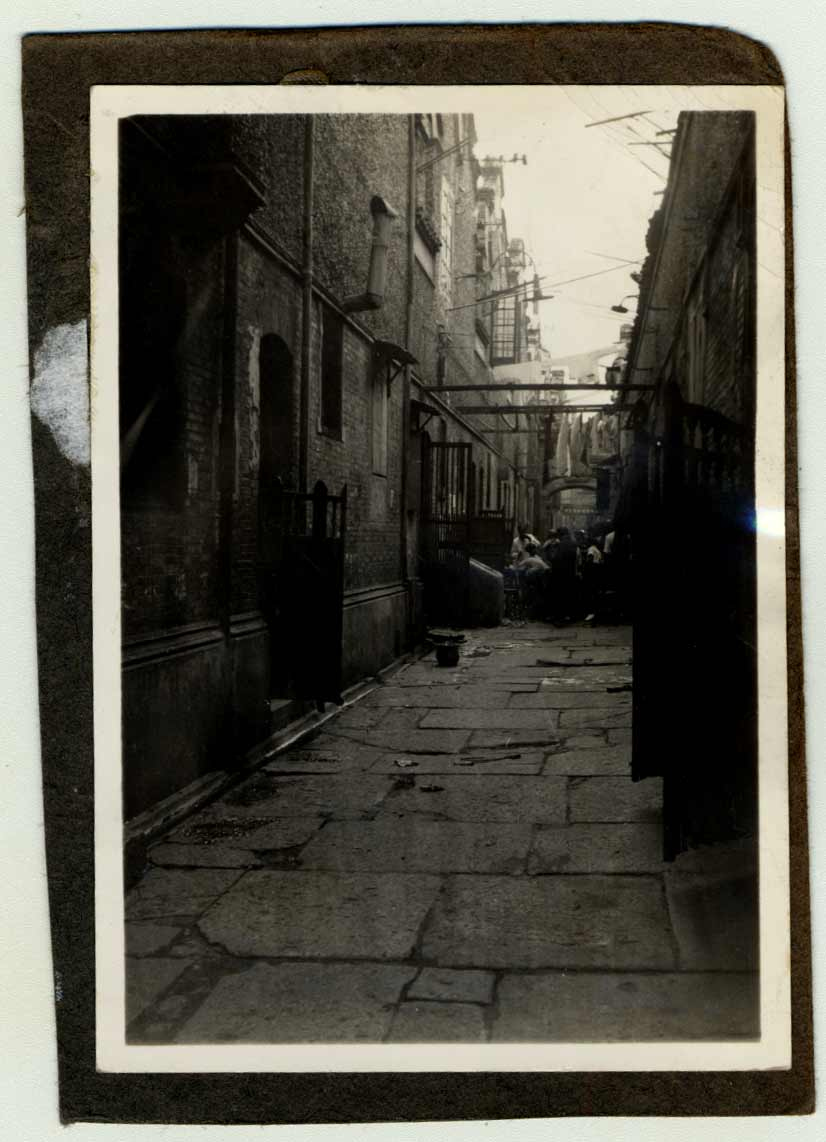 "An alley in the restricted area for Jews, also known as Shanghai's ""Jewish ghetto""."