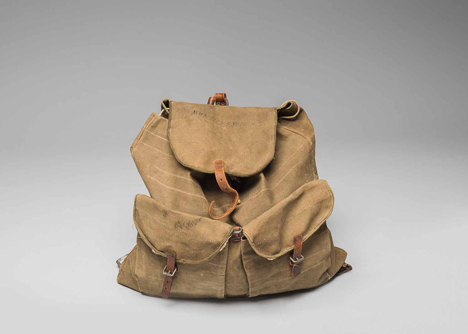 Knapsack that belonged to Joseph Wyshynski while he was exiled in the Soviet Union. Before he left from Lodz to join a Polish resistance group, Joseph's mother filled it with food and clothing. (Photo: Peter Berra)