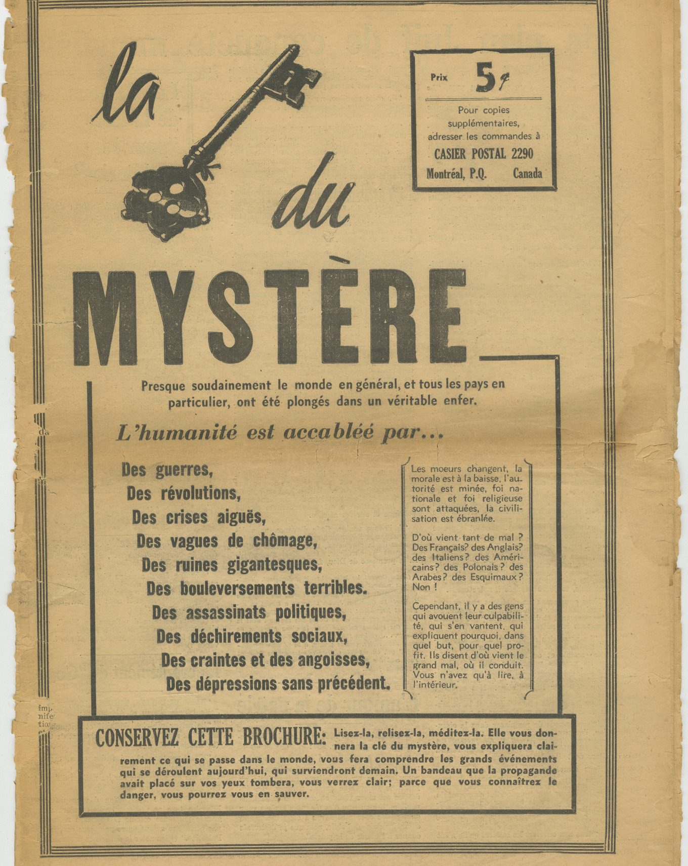 "''La clé du mystère'' (""The Key to the Mystery"") is an antisemitic booklet that was published in Quebec in 1938."