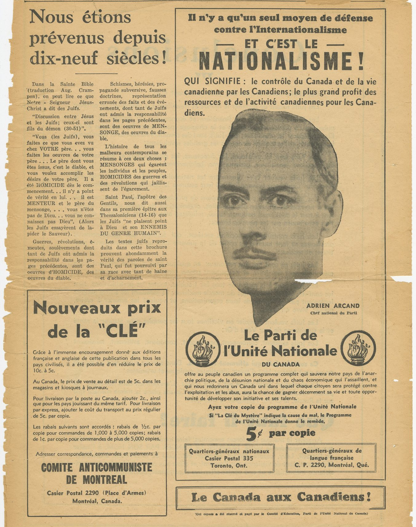 The booklet was published by Adrien Arcand under the name of the Ligue feminine anti-communiste de Montréal.