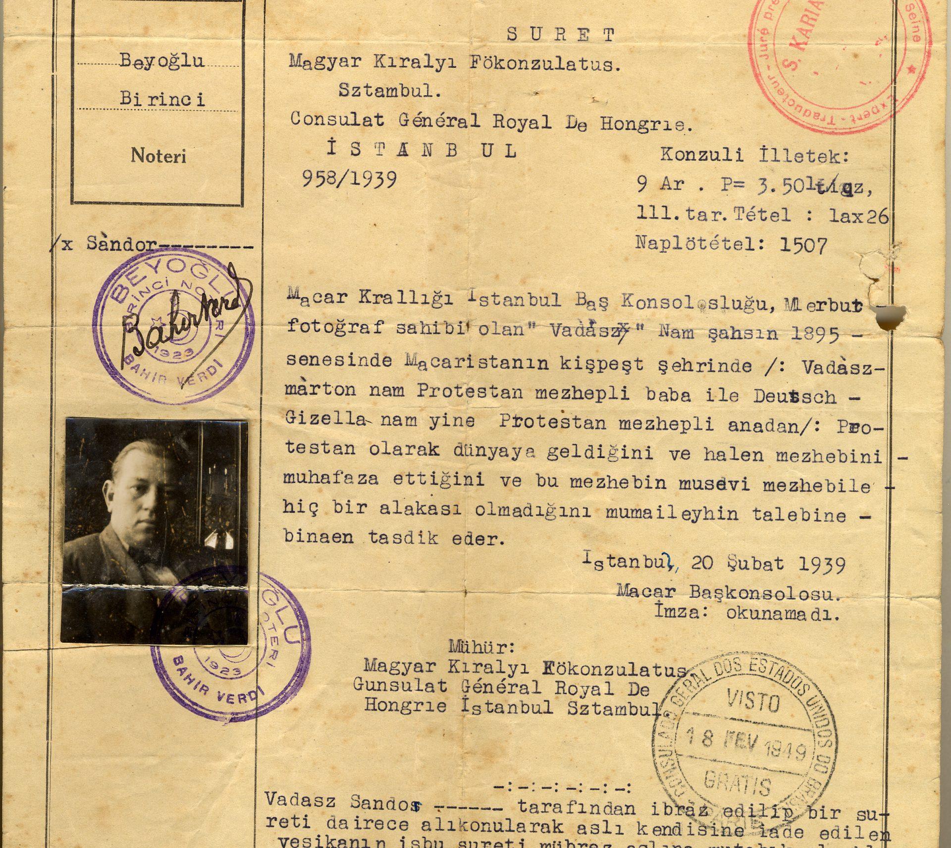 Le document original réalisé en Turquie en 1939.