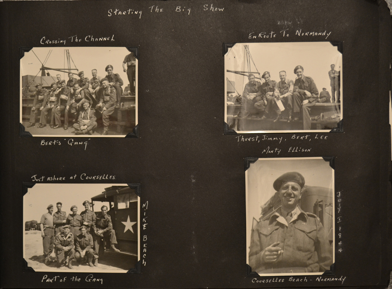 This page from Bertram Ellison's album depict the Normandy landings.