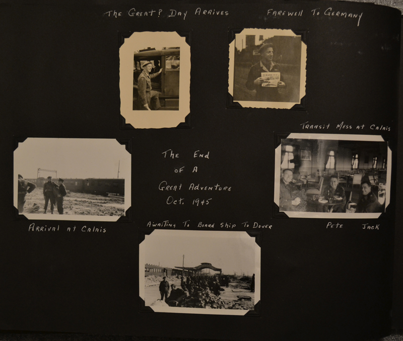 Album page depicting the departure from Europe.