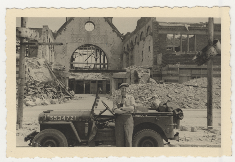 Bertram Ellison in front of the ruins of a train station in Münster, Germany.