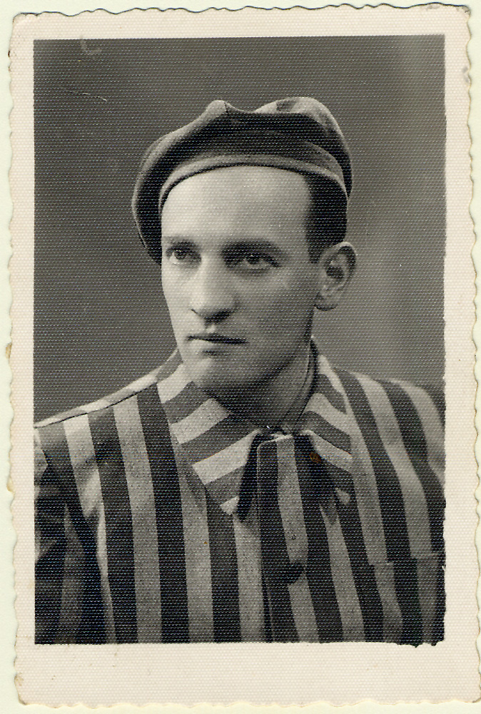 Charles Kotkowsky in his prisoner uniform after liberation from the Buchenwald camp.