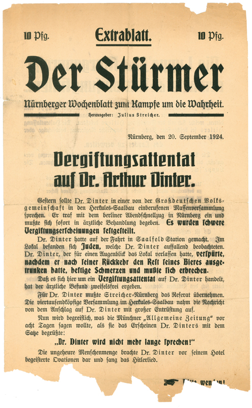 "September 20, 1924, edition of Der Stürmer. The weekly's subtitle, ""Nürnberger Wochenblatt zum Kampfe um die Wahrheit"", means ""Nuremberg's weekly to fight for the truth""."