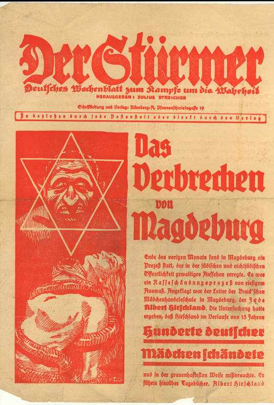 "1935 special edition of Der Stürmer. This edition instrumentalises the trial of the Jewish principal of a business school who was accused of ""race defilement"" to showcase the alleged perverted nature of Jews."