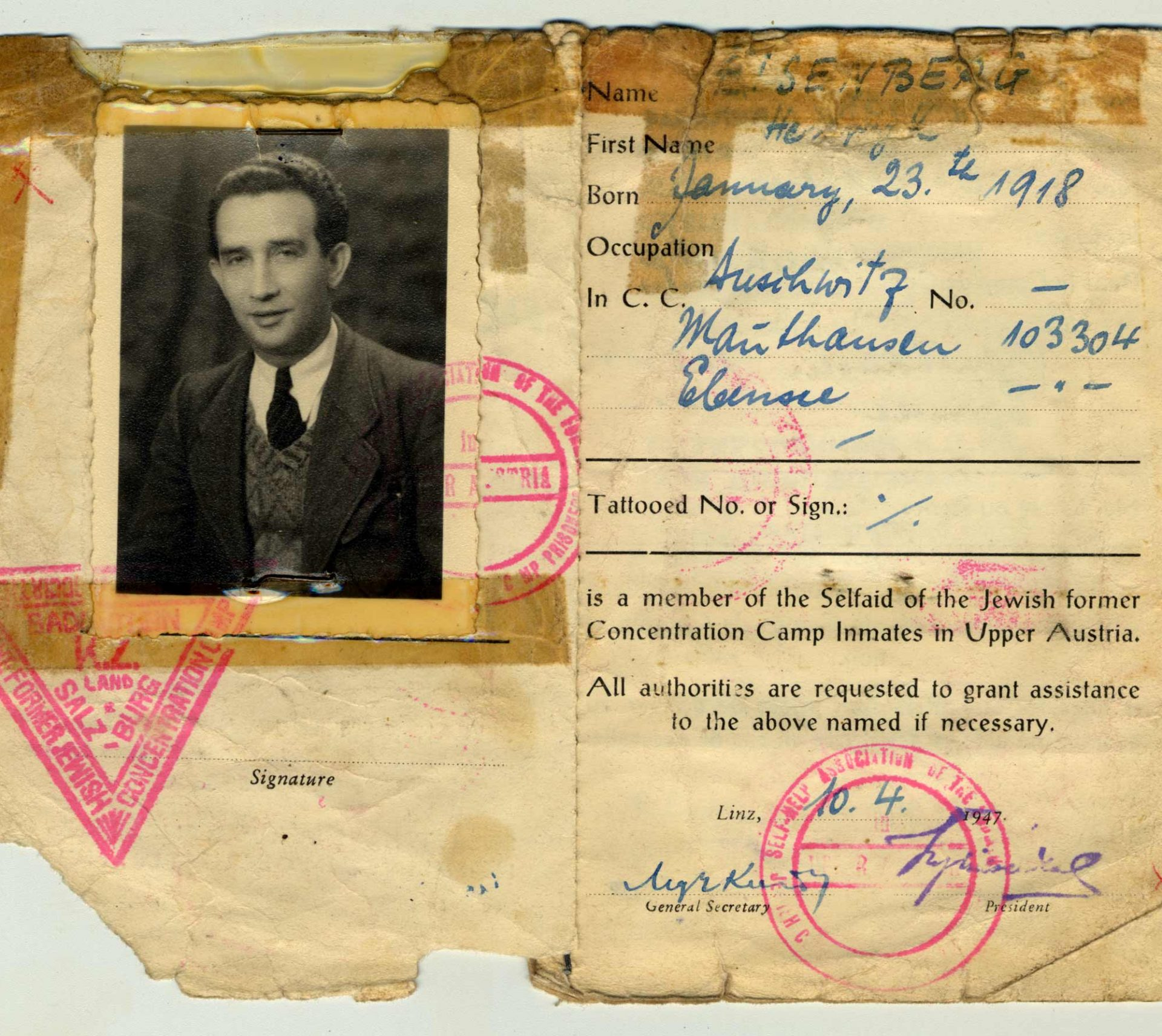 La carte d'identité émise au nom d'Henryk par un organisme venant en aide aux survivants des camps de concentration d'Autriche.