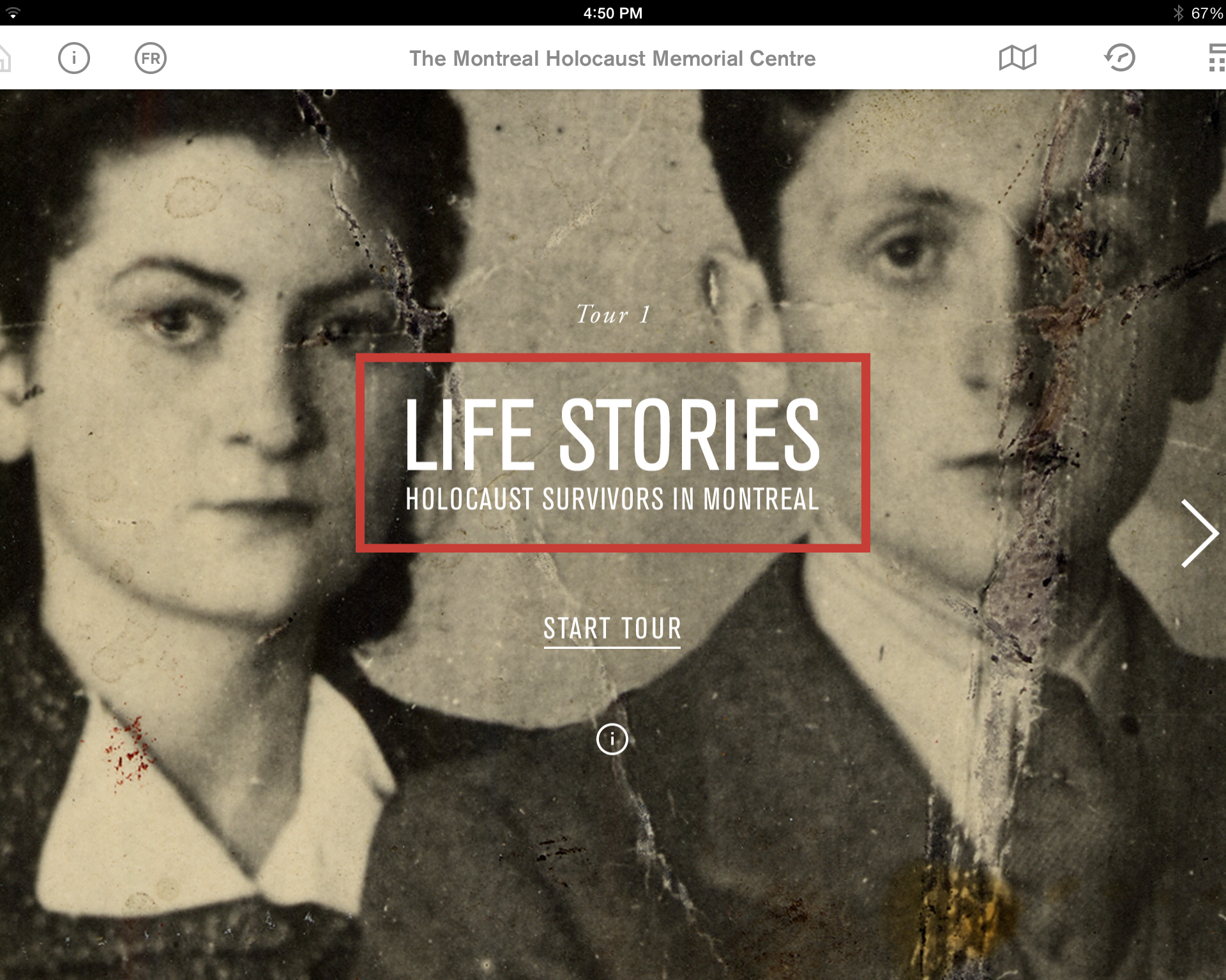 1st tour: Life Stories - Holocaust Survivors in Montreal from the Montreal Holocaust Museum's app.