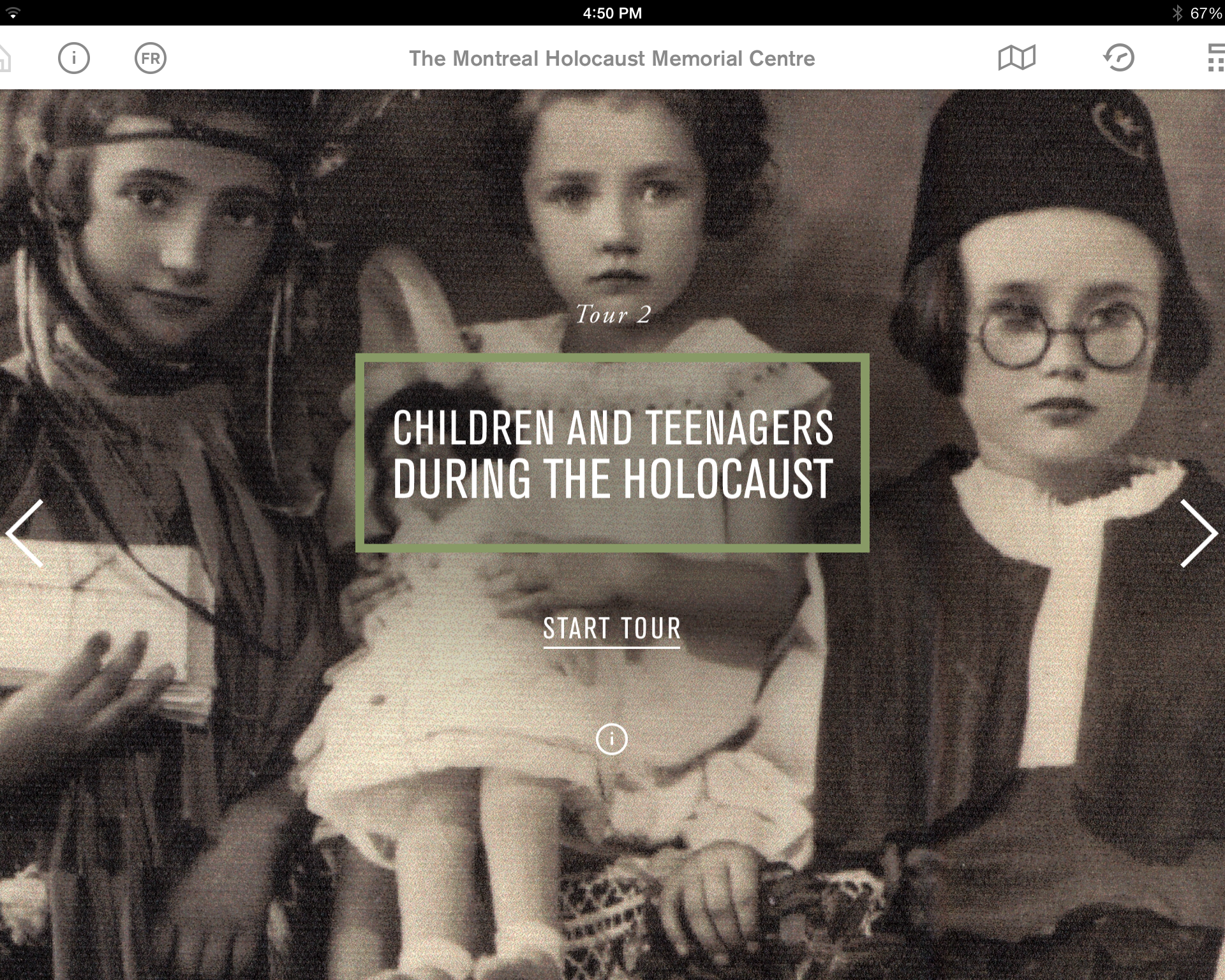 2nd tour: Children and Teenagers During the Holocaust from the Montreal Holocaust Museum's app.