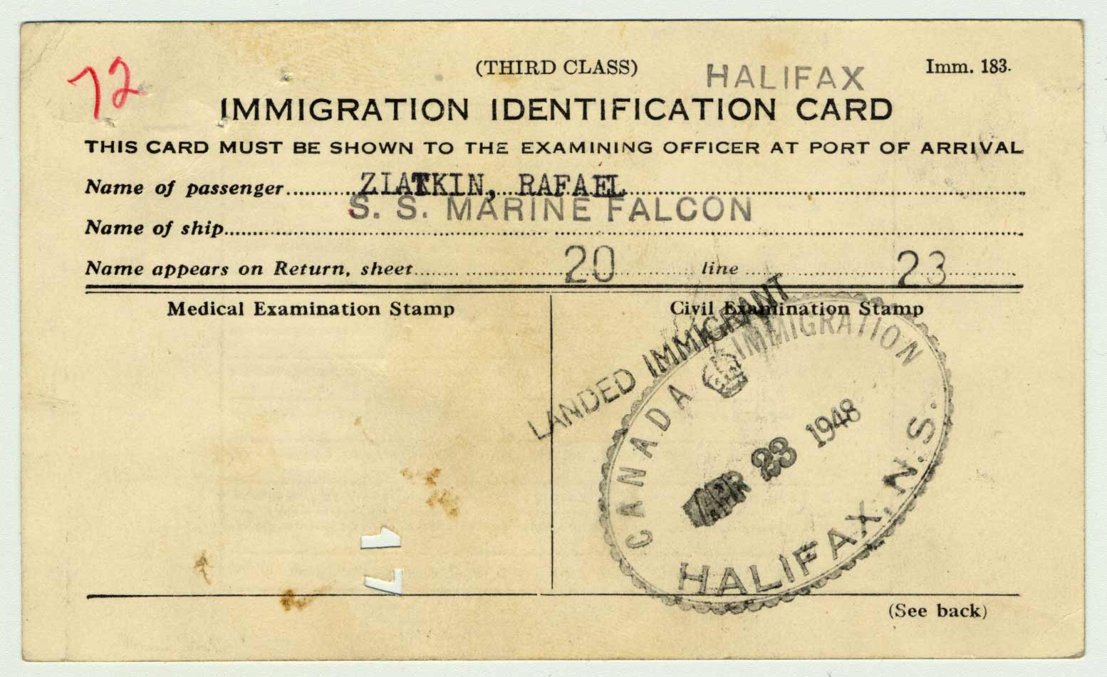 Rafael Zlatkin's immigration card from his arrival in Halifax on April 23, 1948.