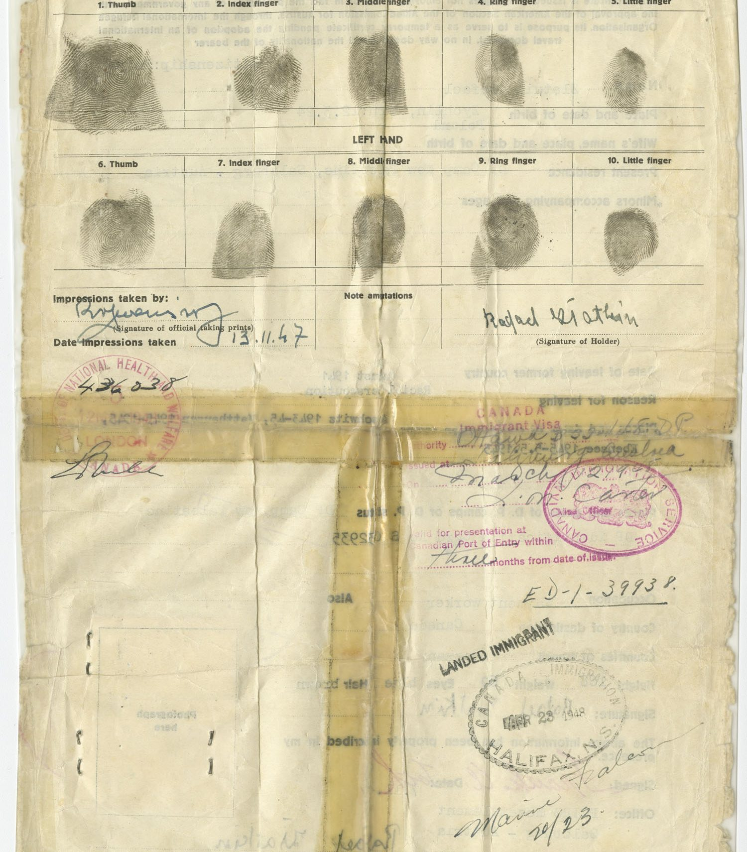 On the back of the document, Rafael's fingerprints and the stamp from his arrival at Pier 21 in Halifax in 1948 are still visible.