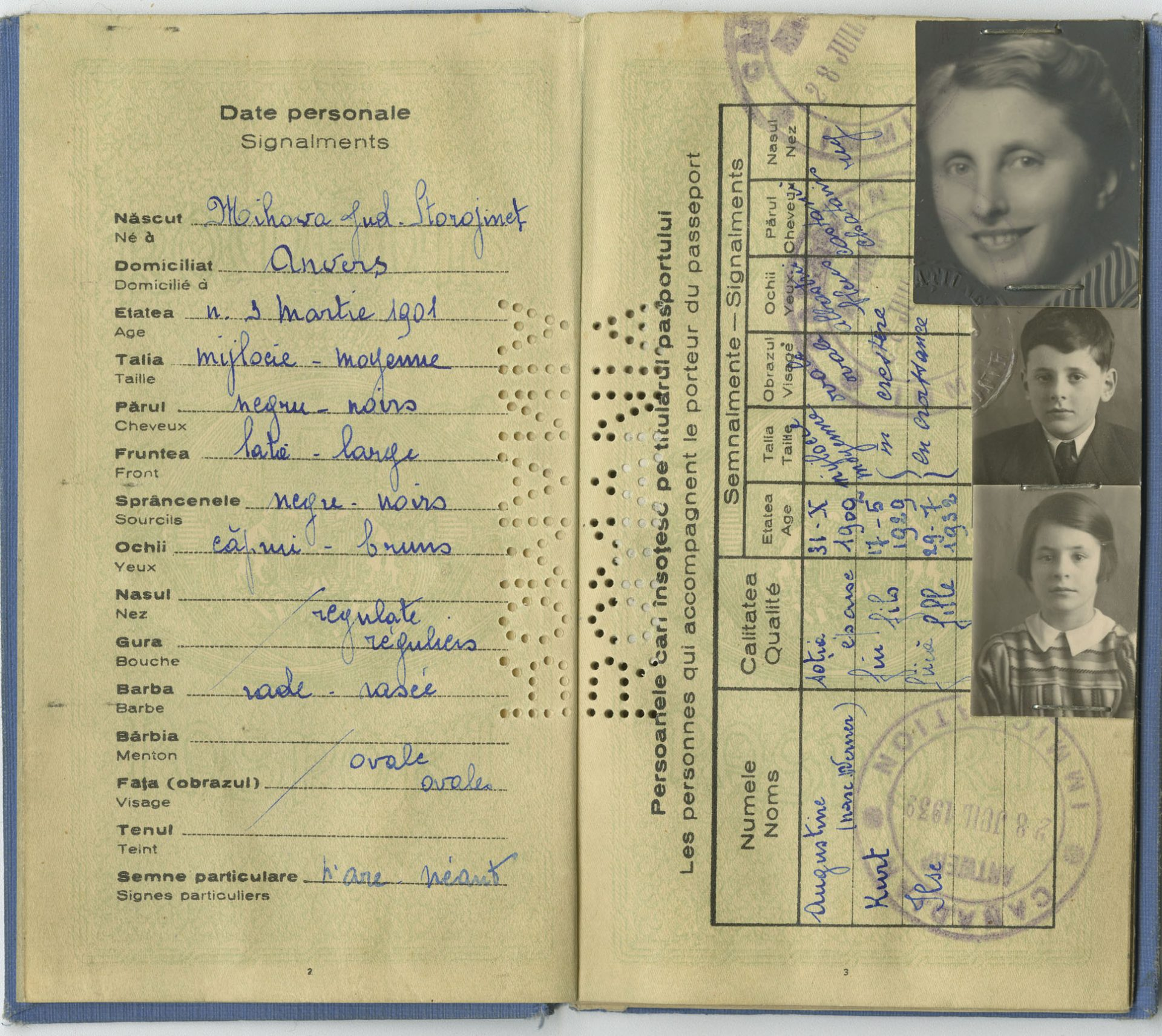 A page of Salomon Gottfried's passport with the identity photographs of Augustina, Kurt and Isle.