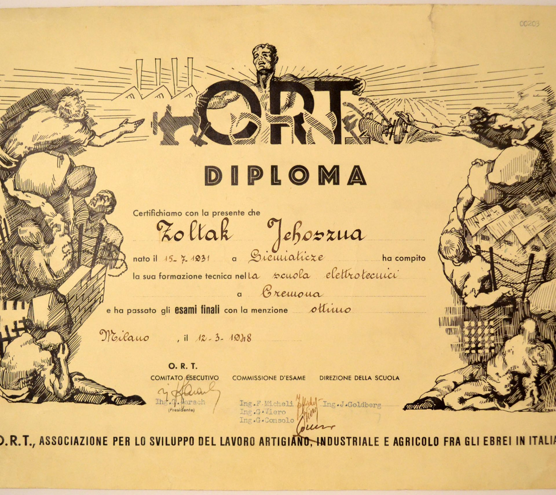 ORT diploma written in Italian on March 12, 1948. It was presented to Jehoszua (Sidney) Zoltak for his completion of an electrician course in the Cremona (Italy) displaced persons camp.