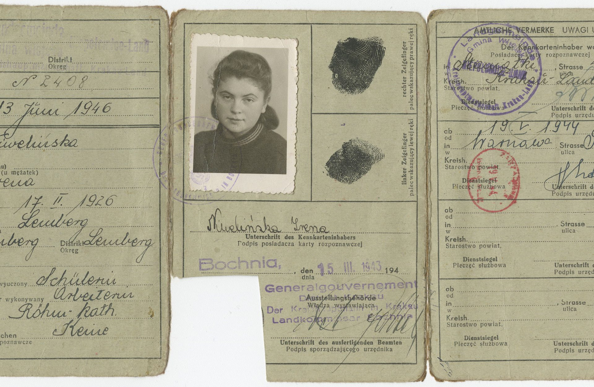 Identity card from the Polish General Government belonging to Irena Niwelinska, born in 1926 in Lvov. Dina Sheres used the card to assume a false identity after escaping from the Lvov ghetto.